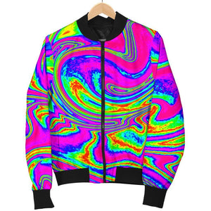 Abstract Psychedelic Liquid Trippy Print Women's Bomber Jacket GearFrost