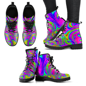 Abstract Psychedelic Liquid Trippy Print Women's Boots GearFrost