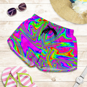 Abstract Psychedelic Liquid Trippy Print Women's Shorts GearFrost