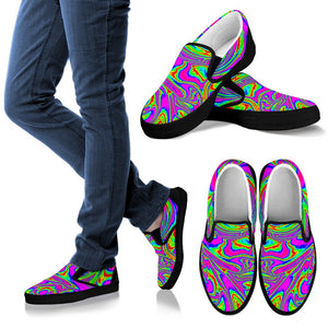 Abstract Psychedelic Liquid Trippy Print Women's Slip On Shoes GearFrost