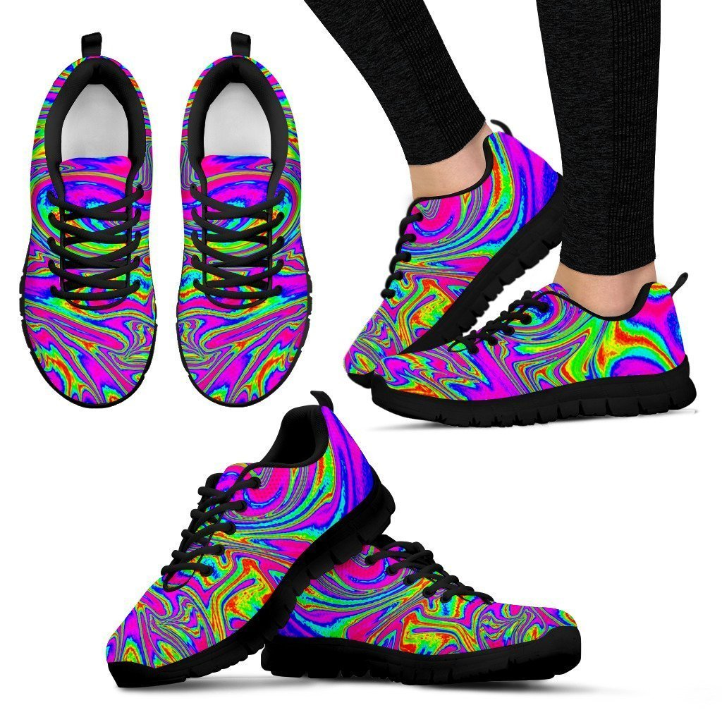 Abstract Psychedelic Liquid Trippy Print Women's Sneakers GearFrost