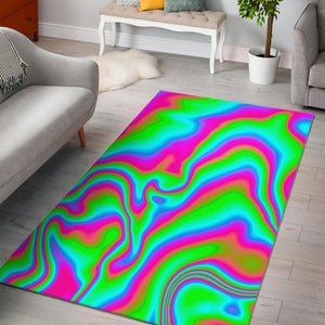 Abstract Psychedelic Trippy Print Area Rug GearFrost