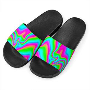 Abstract Psychedelic Trippy Print Black Slide Sandals GearFrost