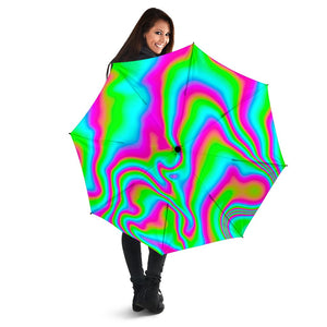 Abstract Psychedelic Trippy Print Foldable Umbrella GearFrost