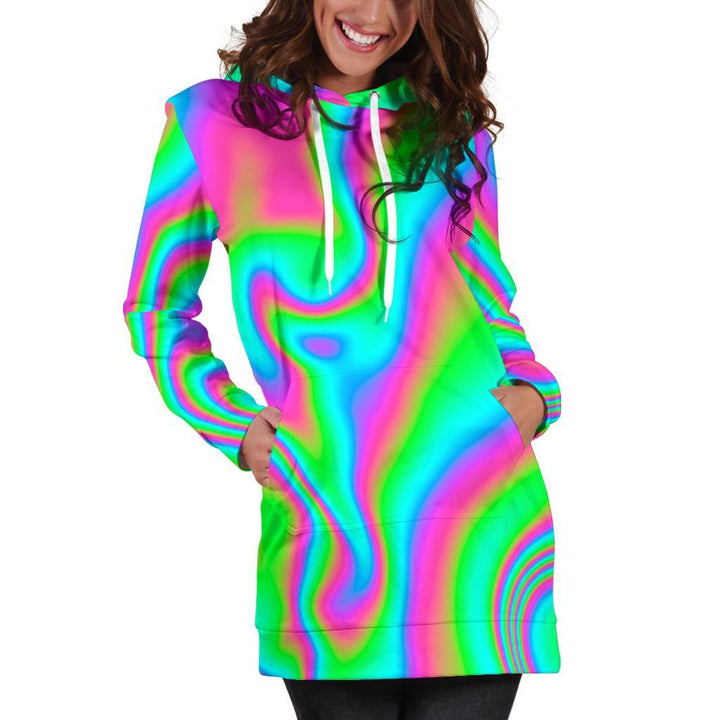 Abstract Psychedelic Trippy Print Hoodie Dress GearFrost