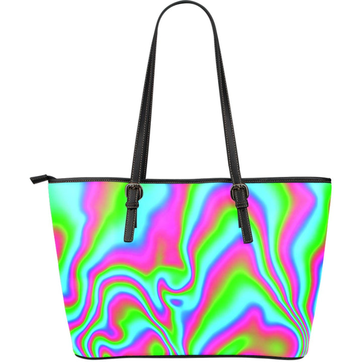 Abstract Psychedelic Trippy Print Leather Tote Bag GearFrost