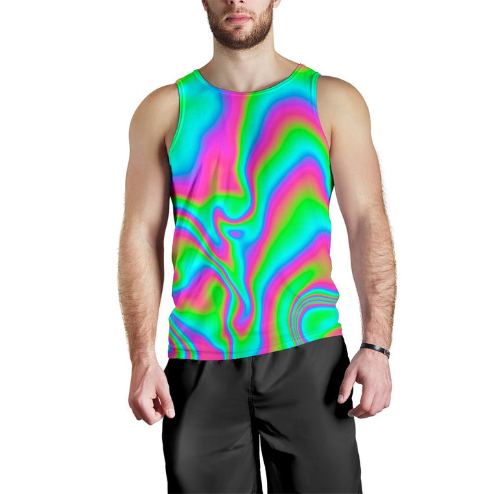 Abstract Psychedelic Trippy Print Men's Tank Top GearFrost