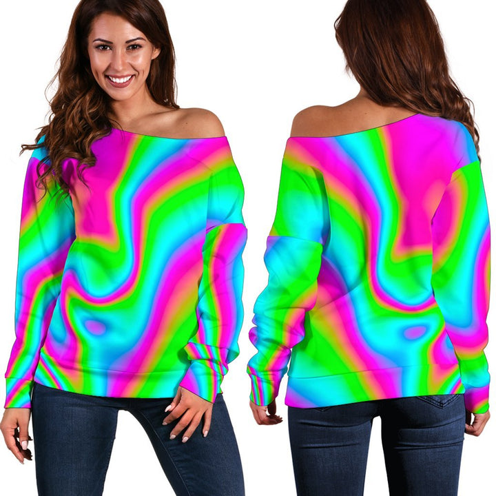 Abstract Psychedelic Trippy Print Off Shoulder Sweatshirt GearFrost