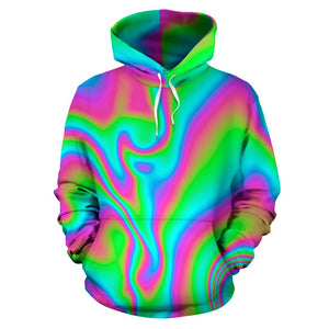 Abstract Psychedelic Trippy Print Pullover Hoodie GearFrost