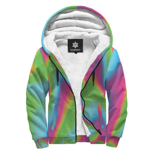 Abstract Psychedelic Trippy Print Sherpa Lined Fleece Hoodie GearFrost