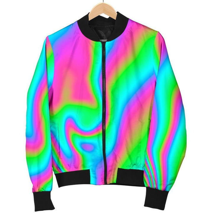 Abstract Psychedelic Trippy Print Women's Bomber Jacket GearFrost