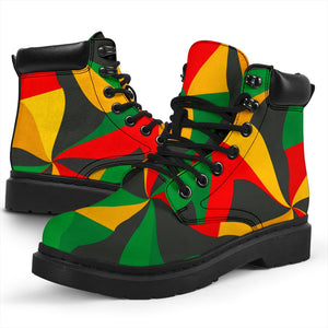 Abstract Reggae Pattern Print All Season Boots GearFrost