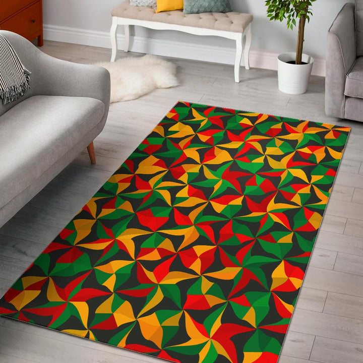 Abstract Reggae Pattern Print Area Rug GearFrost
