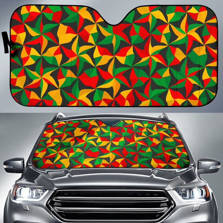 Abstract Reggae Pattern Print Car Sun Shade GearFrost