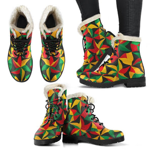 Abstract Reggae Pattern Print Comfy Boots GearFrost