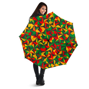 Abstract Reggae Pattern Print Foldable Umbrella GearFrost