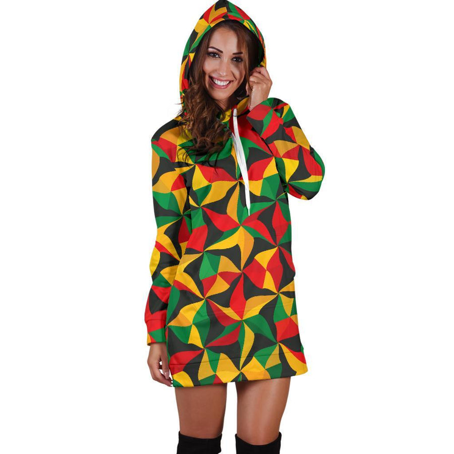 Abstract Reggae Pattern Print Hoodie Dress GearFrost