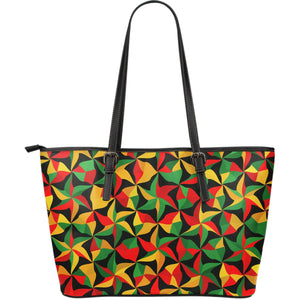 Abstract Reggae Pattern Print Leather Tote Bag GearFrost