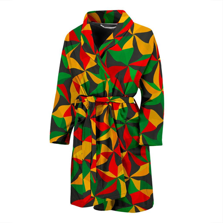 Abstract Reggae Pattern Print Men's Bathrobe GearFrost
