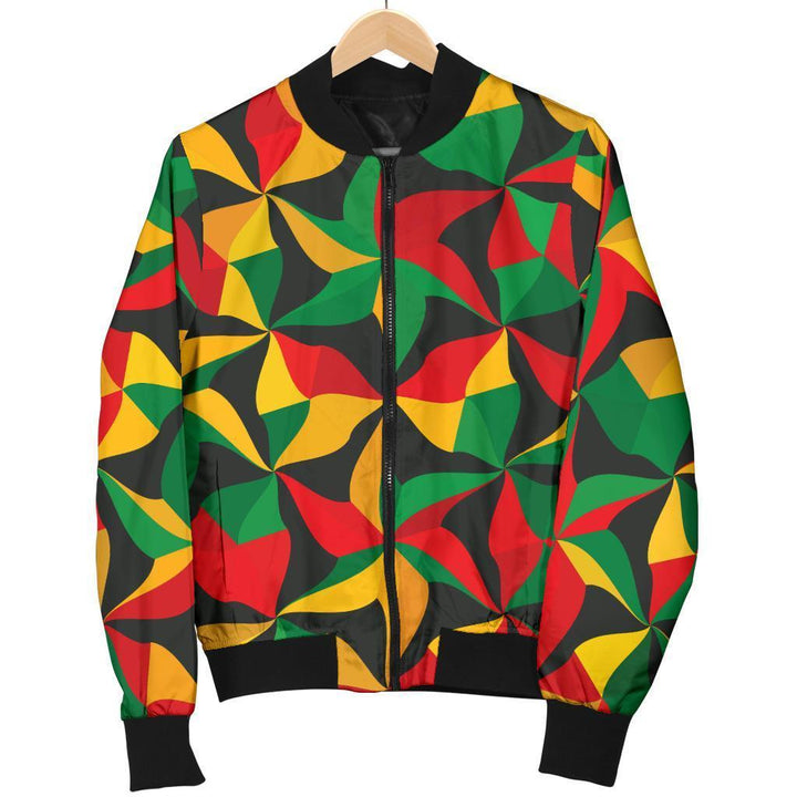 Abstract Reggae Pattern Print Men's Bomber Jacket GearFrost