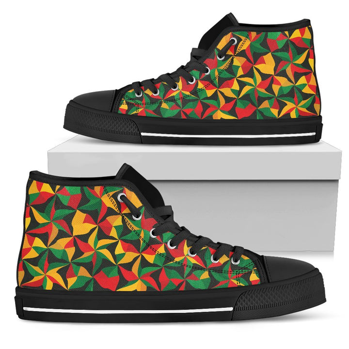 Abstract Reggae Pattern Print Men's High Top Shoes GearFrost