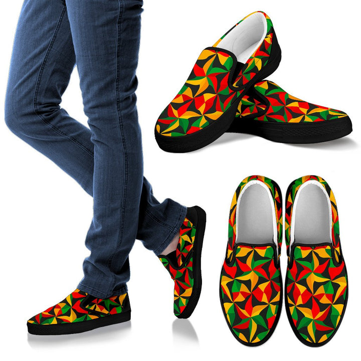 Abstract Reggae Pattern Print Men's Slip On Shoes GearFrost