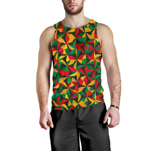 Abstract Reggae Pattern Print Men's Tank Top GearFrost