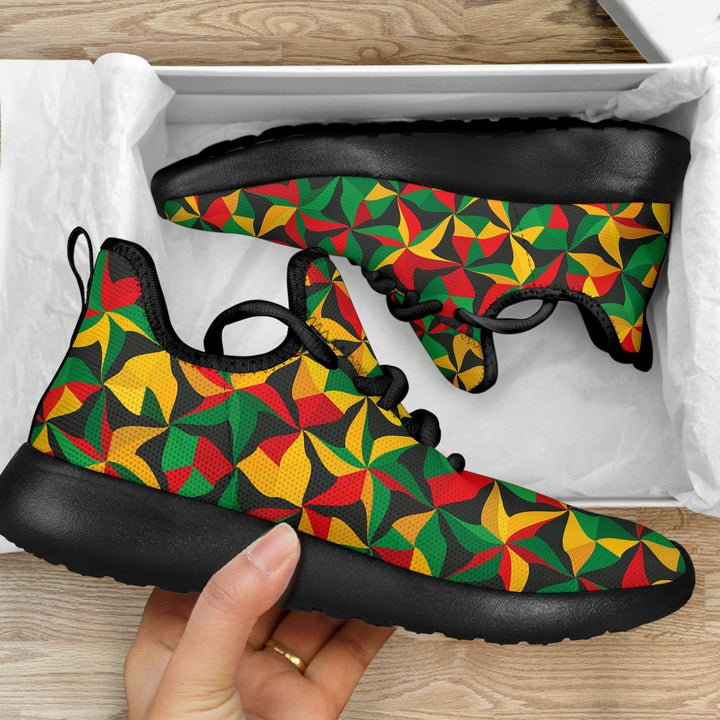Abstract Reggae Pattern Print Mesh Knit Shoes GearFrost
