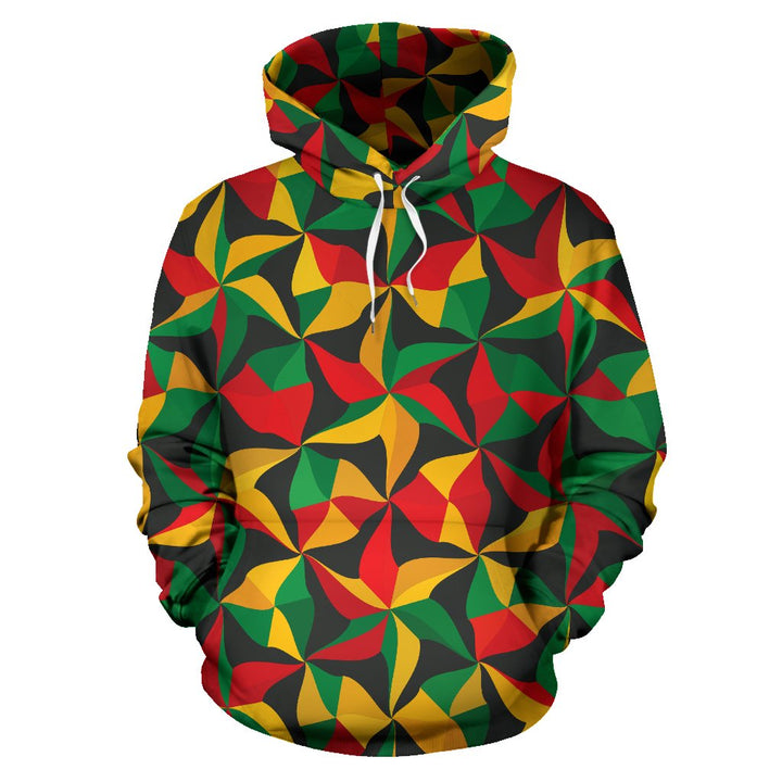 Abstract Reggae Pattern Print Pullover Hoodie GearFrost