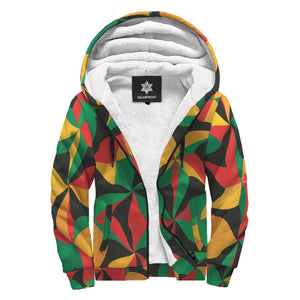 Abstract Reggae Pattern Print Sherpa Lined Fleece Hoodie GearFrost