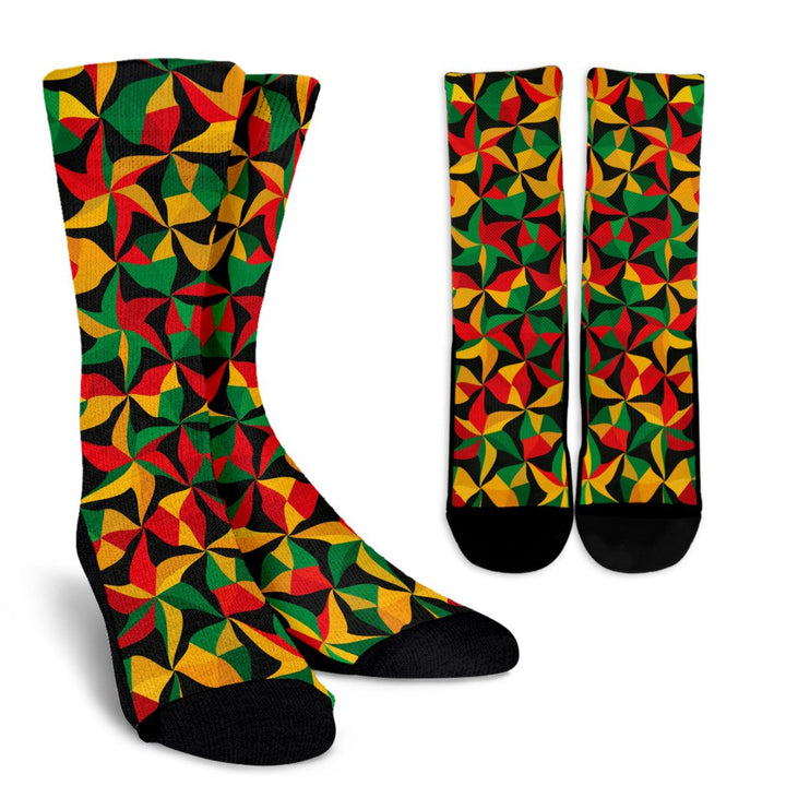 Abstract Reggae Pattern Print Unisex Crew Socks GearFrost