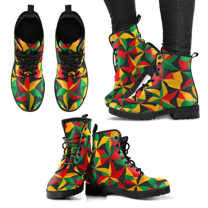 Abstract Reggae Pattern Print Women's Boots GearFrost