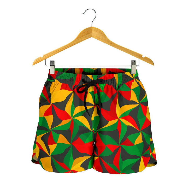 Abstract Reggae Pattern Print Women's Shorts GearFrost