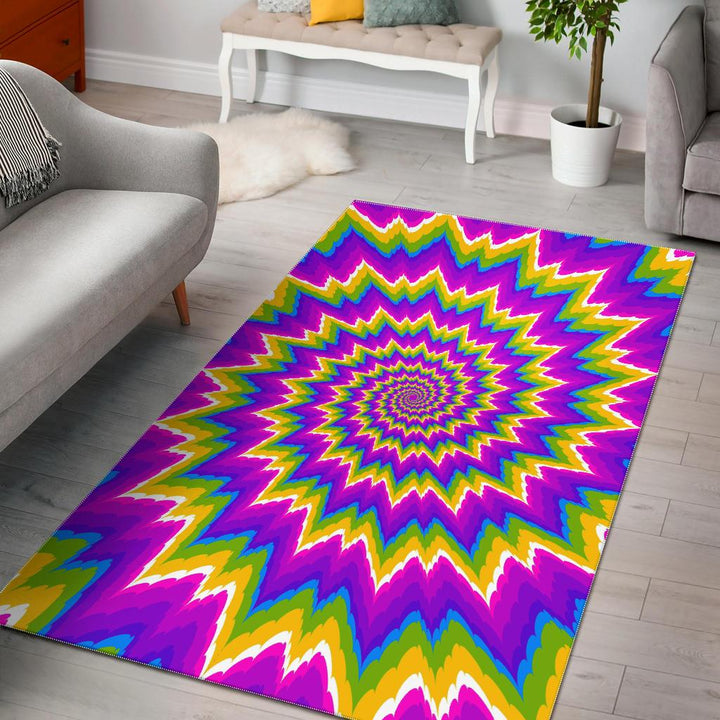 Abstract Spiral Moving Optical Illusion Area Rug GearFrost