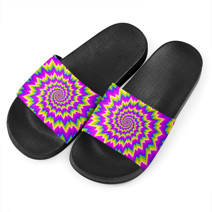Abstract Spiral Moving Optical Illusion Black Slide Sandals GearFrost
