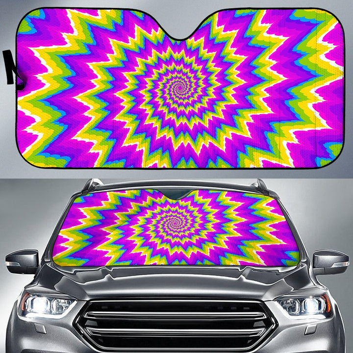 Abstract Spiral Moving Optical Illusion Car Sun Shade GearFrost
