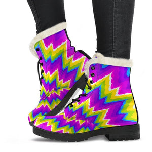 Abstract Spiral Moving Optical Illusion Comfy Boots GearFrost