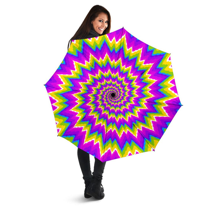 Abstract Spiral Moving Optical Illusion Foldable Umbrella GearFrost