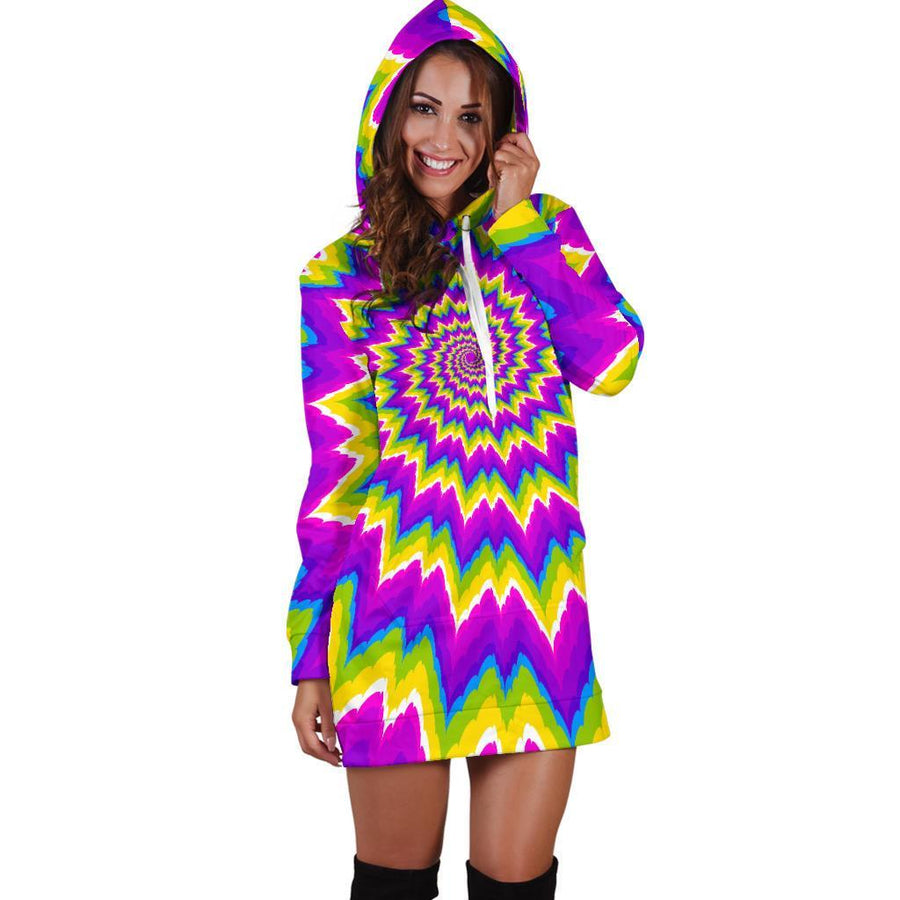 Abstract Spiral Moving Optical Illusion Hoodie Dress GearFrost
