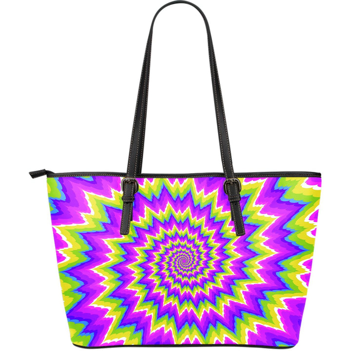 Abstract Spiral Moving Optical Illusion Leather Tote Bag GearFrost