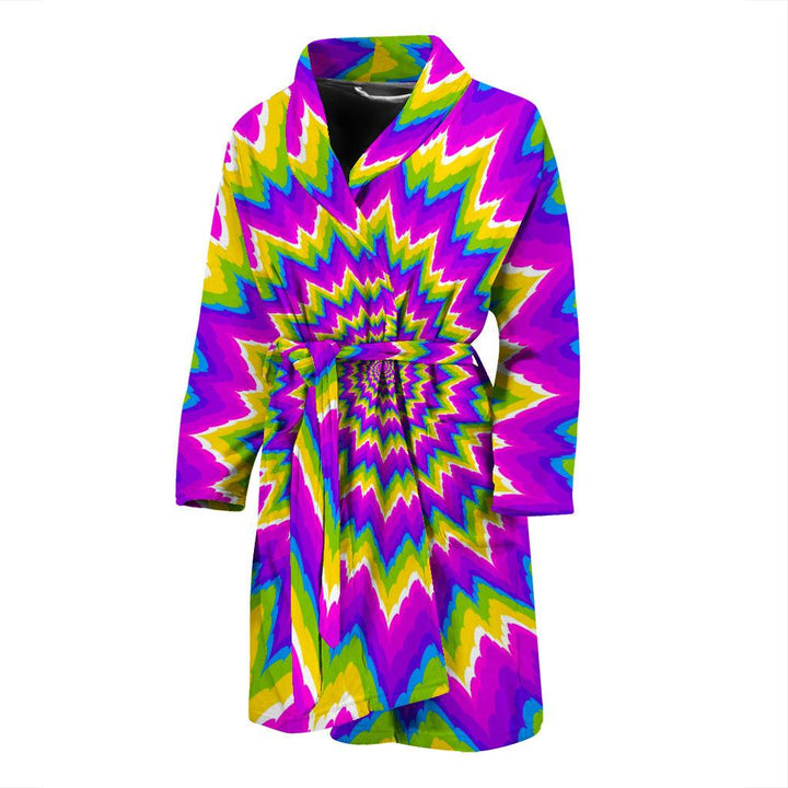 Abstract Spiral Moving Optical Illusion Men's Bathrobe GearFrost