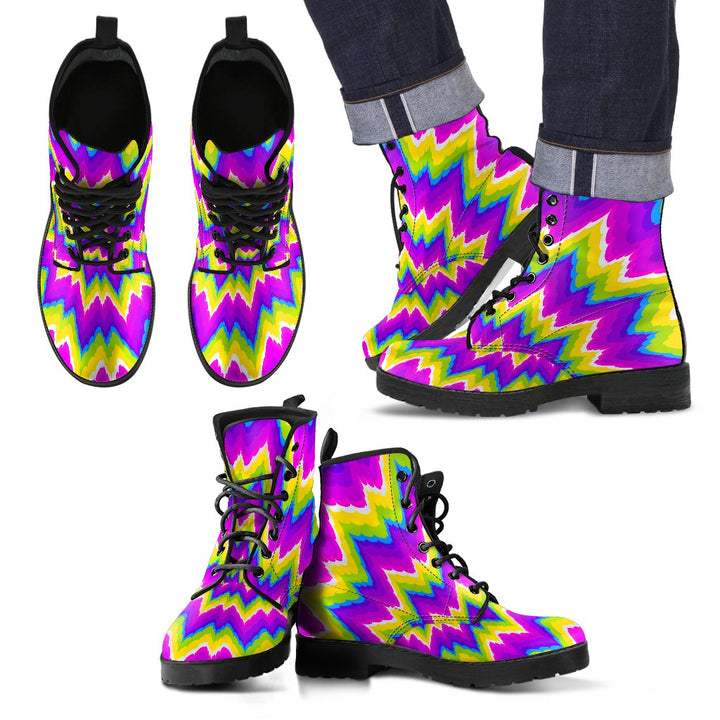 Abstract Spiral Moving Optical Illusion Men's Boots GearFrost