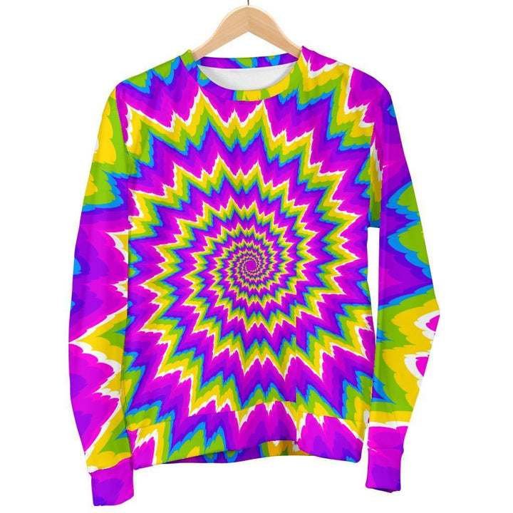 Abstract Spiral Moving Optical Illusion Men's Crewneck Sweatshirt GearFrost