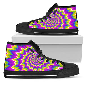 Abstract Spiral Moving Optical Illusion Men's High Top Shoes GearFrost