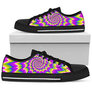 Abstract Spiral Moving Optical Illusion Men's Low Top Shoes GearFrost