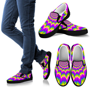 Abstract Spiral Moving Optical Illusion Men's Slip On Shoes GearFrost