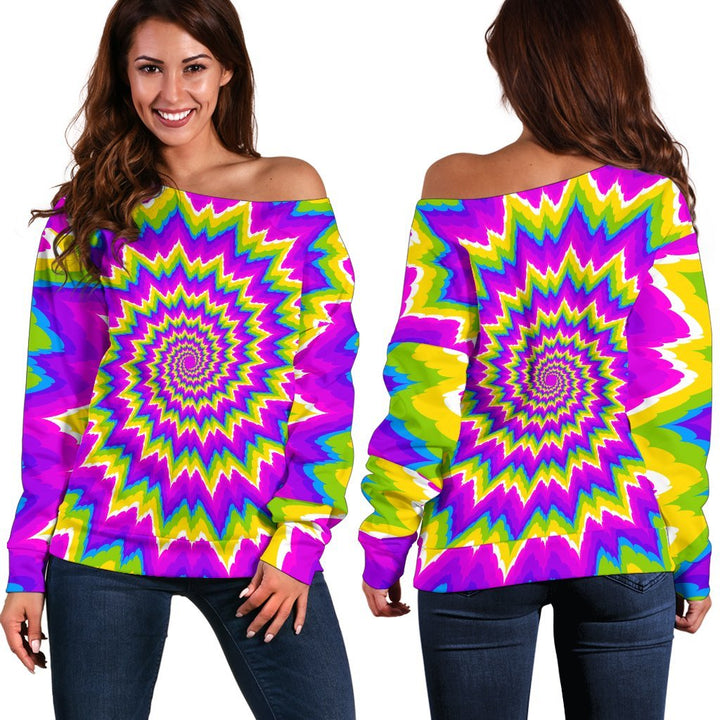 Abstract Spiral Moving Optical Illusion Off Shoulder Sweatshirt GearFrost