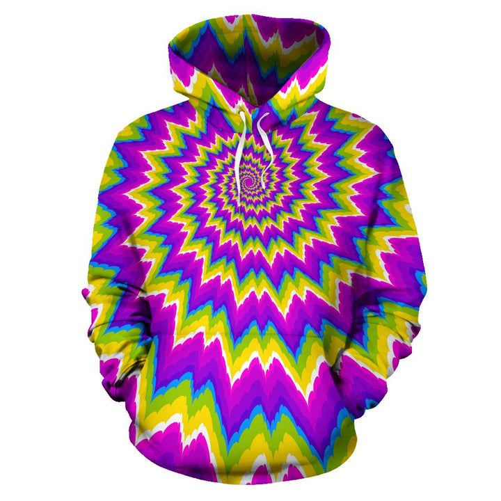 Abstract Spiral Moving Optical Illusion Pullover Hoodie GearFrost