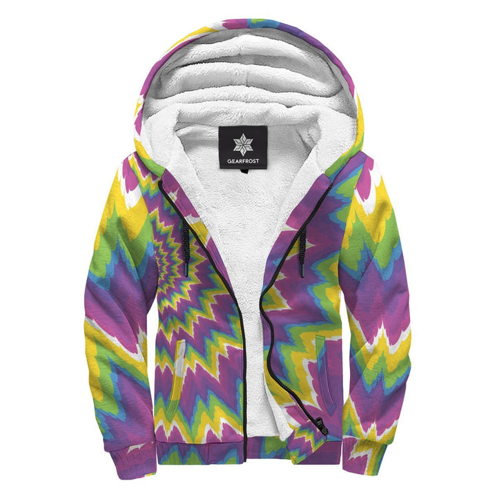 Abstract Spiral Moving Optical Illusion Sherpa Lined Fleece Hoodie GearFrost