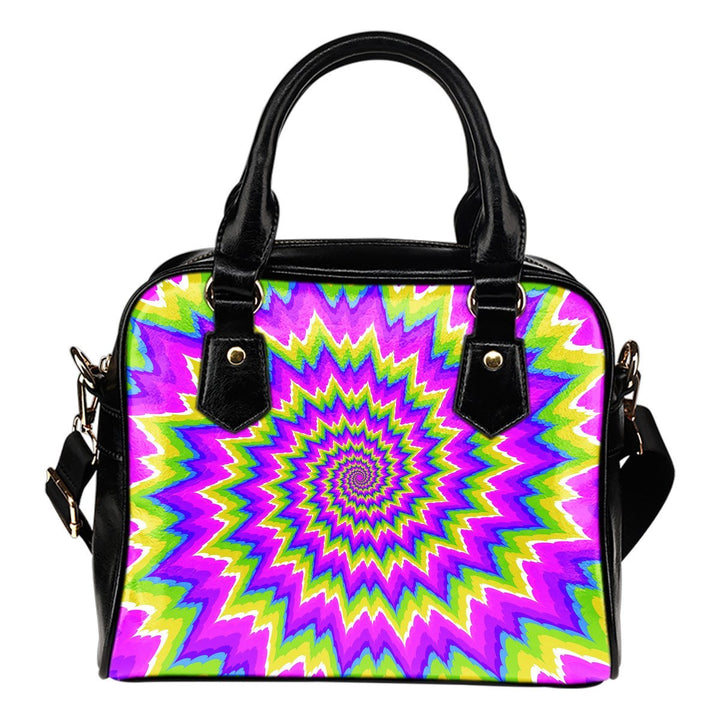 Abstract Spiral Moving Optical Illusion Shoulder Handbag GearFrost